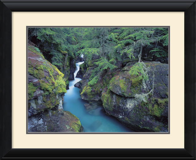 Mountain Forest Cascade Framed Print by William Neill traditional-prints-and-posters