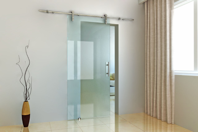 Modern barn door hardware for glass door - Modern - hong kong - by ...