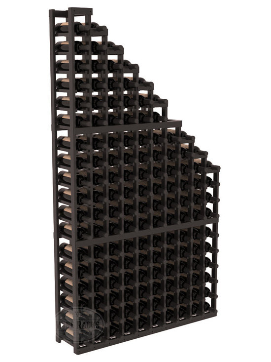 Wine Cellar Waterfall Display Kit in Redwood with Black Stain + Satin Finish - A beautiful cascading waterfall of wine bottle displays. Create a spectacle of 9 of your favorite vintages. Designed within our modular specifications and to Wine Racks America's superior product standards, you'll be satisfied. We guarantee it.