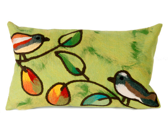 """Trans-Ocean Outdoor Pillows - Trans-Ocean Liora Manne Song Birds Green - 12"""" x 20"""" - Designer Liora Manne's newest line of toss pillows are made using a unique, patented Lamontage process combining handmade artistry with high tech processing. The 100% polyester microfibers are intricately structured by hand and then mechanically interlocked by needle-punching to create non-woven textiles that resemble felt. The 100% polyester microfiber results in an extra-soft hand with unsurpassed durability."""