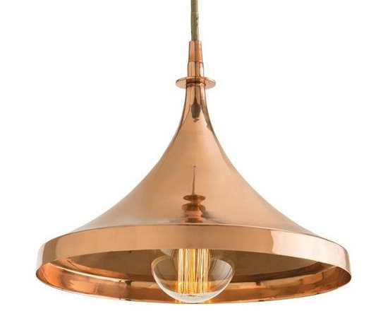 Arteriors Lennox Pendant - This one light, copper pendant with taupe fabric cord introduces an old, yet now new, finish. We believe in mixed metals, so use in rooms with polished nickel or brass hardware. Shown with a Nostalgic thread bulb. Pendant Dim H: 10 Pendant Dim Dia: 13 Canopy Dimension H: 1.5 Canopy Dimension Dia: 5.75