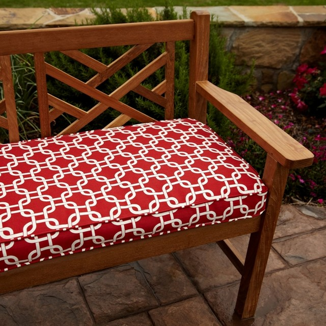 Penelope Red 60 inch Outdoor Bench Cushion Contemporary