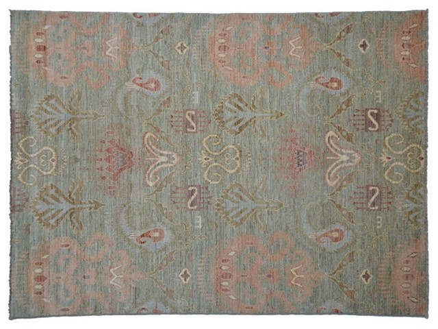 Sage Green Hand Knotted Rug Tribal Ikat Uzbek Oriental Rug Sh4584 traditional-rugs