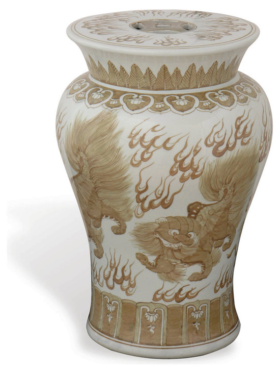 Chow Brown Garden Stool - This asian garden stool comes in an elegant curved shape adorned with an intricate beige dragon design. Use as an accent table, an ottoman or for additional seating!