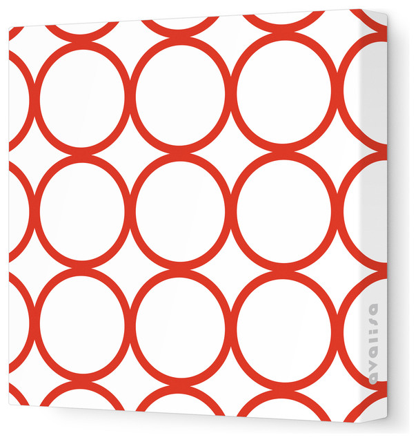 """Pattern - Circles Stretched Wall Art, 12"""" x 12"""", Red contemporary-kids-decor"""