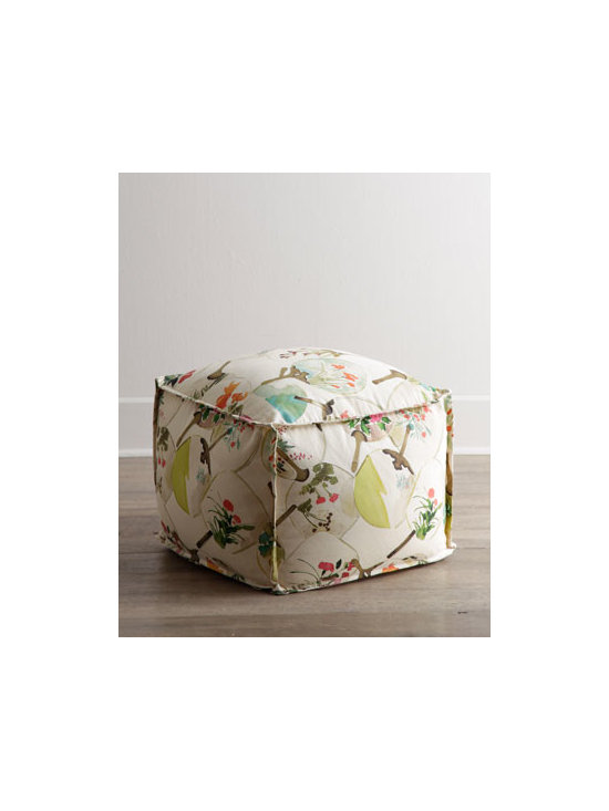 "Lee Industries - Lee Industries ""Princeton"" Ottoman - Flanged seams, an overall chinoiserie-inspired fan print in soft watercolors, and a plump design make this ottoman an inviting addition to any room. Perfect as extra seating or as a convenient place to rest your feet. Handcrafted. Cotton/linen upholst..."