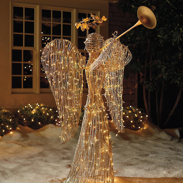 Lighted Rattan Trumpet Angel - Outdoor Christmas Decorations - Traditional - Outdoor Holiday ...