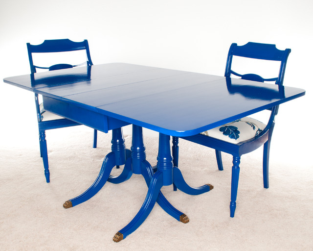 Duncan Phyfe Dining Table In Blue Orlando By Timeless