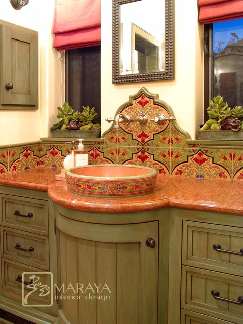 Spanish bathroom with malibu tile mediterranean for Spanish style bathroom