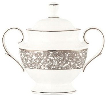 Lenox Silver Bouquet Sugar Bowl with Lid modern-serving-bowls