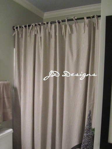 Extra Long Shower Curtain Black And White Ticking By JD