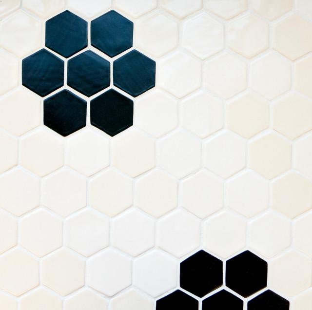 Vintage Flower Honeycomb Midcentury Tile Other Metro