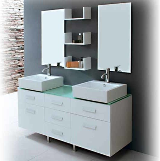 Dallas Bathroom Vanities: Seabreeze Modern Double Sink Bathroom Vanity Set 55