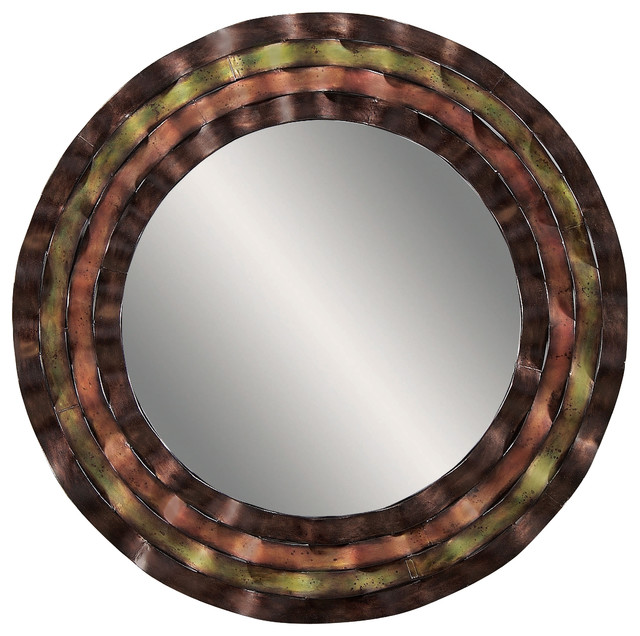 Multi Color Round Wall Mirror Transitional Mirrors