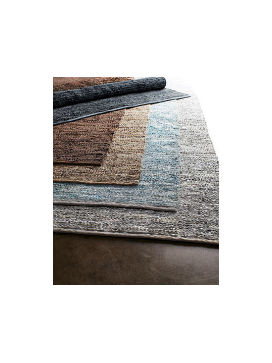 Horchow - Woven Leather Rug - Known for its durability when covering sofas and chairs, leather now plays a role underfoot in this multi-tonal rug that adds just the right note of unexpected texture to both contemporary and traditional rooms. Hand woven of multi-tonal leather. Sele...