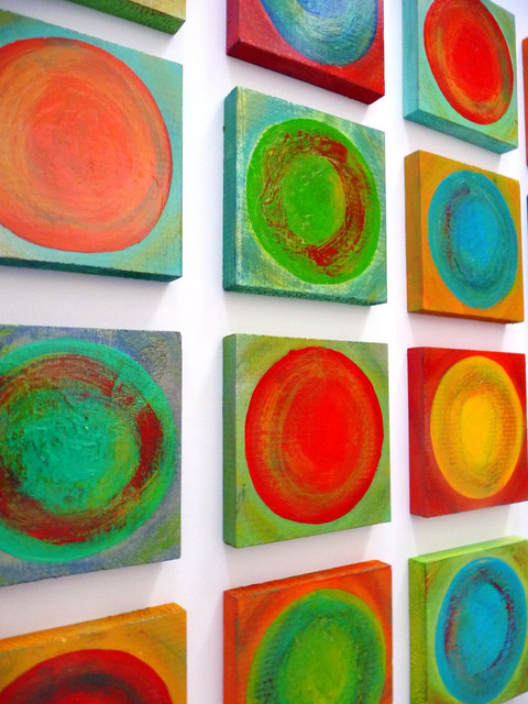 Dancing Circles Project - Large Painted Wood Wall Sculpture modern-artwork
