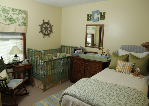 green and blue baby nursery