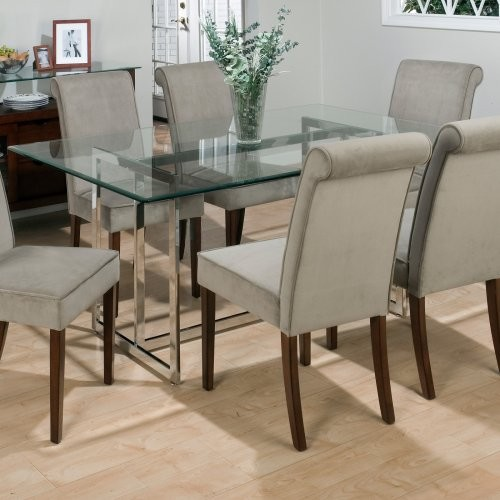 Jofran Bethel Rectanglar Glass Top Dining Table Contemporary Dining Table
