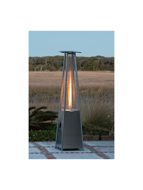 Fire Sense Stainless Steel Pyramid Flame Patio Heater - The Fire Sense Stainless Steel Pyramid Flame Patio Heater will stylishly add warmth and ambiance to your outdoor entertaining area. -Mantels Direct