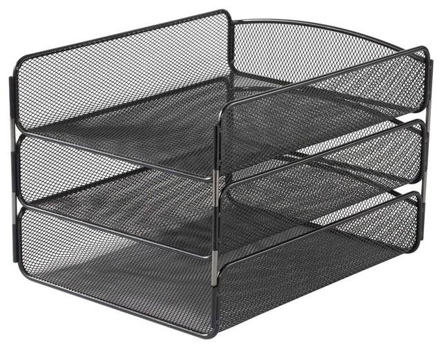 Onyx triple tray organizer in black contemporary desk - Modern desk accessories and organizers ...
