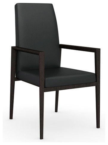 Bess Leather Arm Chair, Wenge Legs, Black, Set of 2 modern-dining-chairs