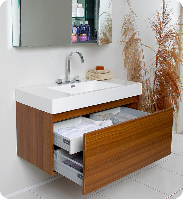"39"" Mezzo Single Vanity with Mirror - Teak (FVN8010TK) modern"