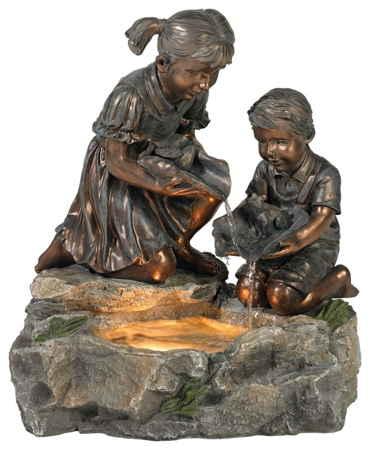 Girl and Boy Lily Pad Lighted Fountain traditional-outdoor-fountains-and-ponds