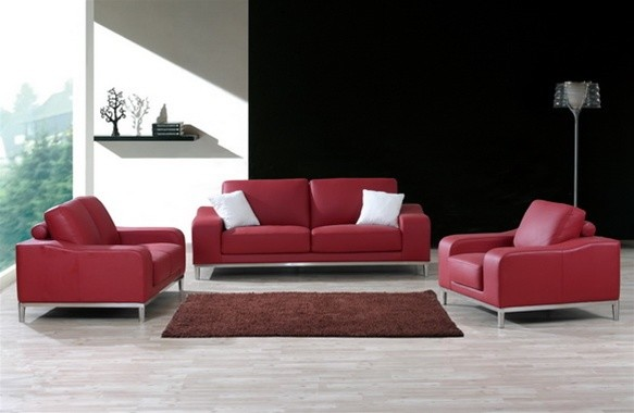 Bonita - Modern Ruby Leather Sofa Set - modern - sofas - by ...