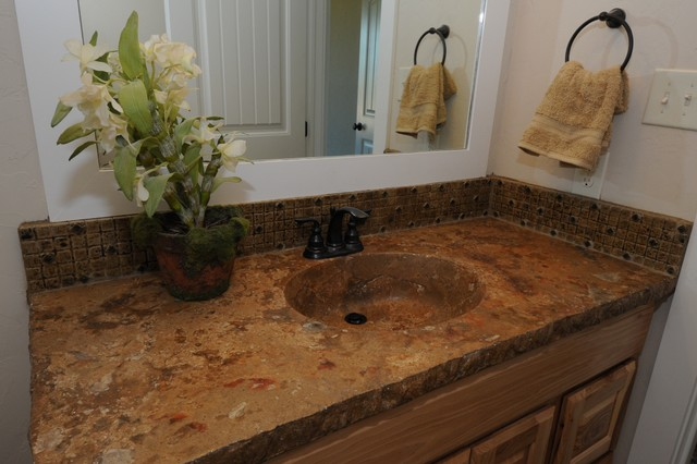 Concrete Integrated Bowl Sink and Countertop by Red Baron Architectural traditional bathroom sinks