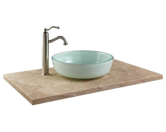 "Color - Add the strength and beauty of travertine to your vanity with this 31"" Vanity Top for Vessel Sink. Displaying a neutral hue with distinct natural variations, this stone top adds allure to a variety of bathroom decors.--Signature Hardware"