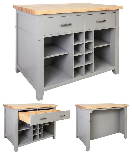 Lyn Design ISL13 Kitchen Island, Gray - Transitional - Kitchen Islands And Kitchen Carts - by ...