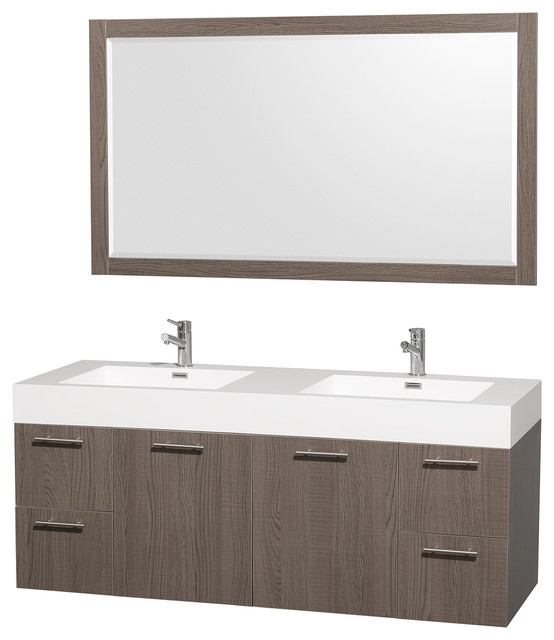 Wyndham Collection 'Amare' 60-inch Grey Oak/ White Double Vanity Set contemporary-bathroom-vanities-and-sink-consoles