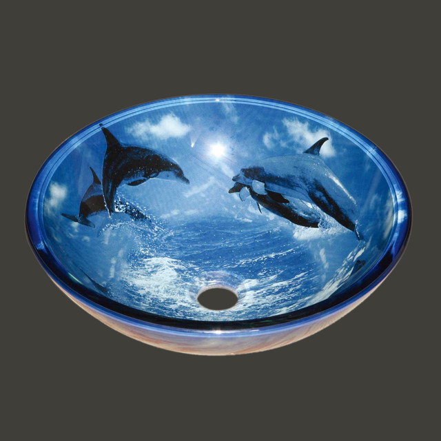 Glass Sinks Blue Dolphins Glass Vessel Sink Round 13192