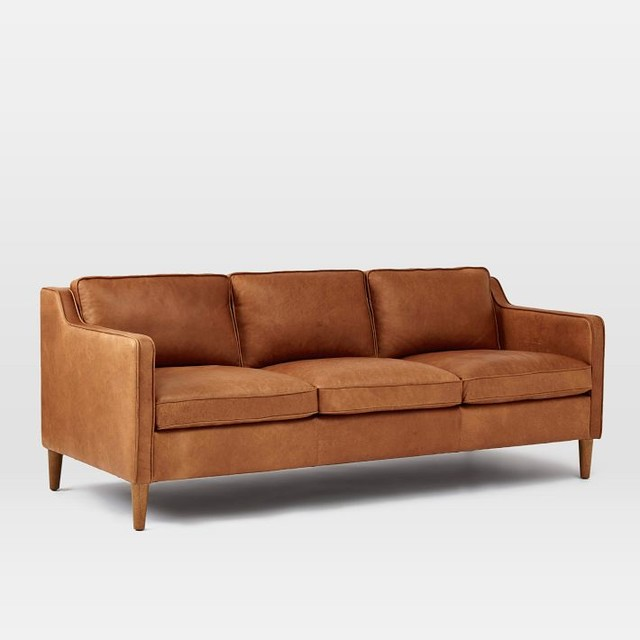 Hamilton Leather Sofa Transitional Sofas By West Elm