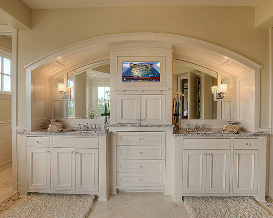 Custom Cabinets - Custom Master Bath Painted Double Vanity with a Paneled Barrel Vaulted Soffit