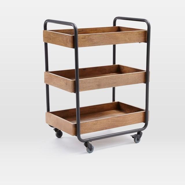 Wood Kitchen Caddy industrial-kitchen-islands-and-kitchen-carts