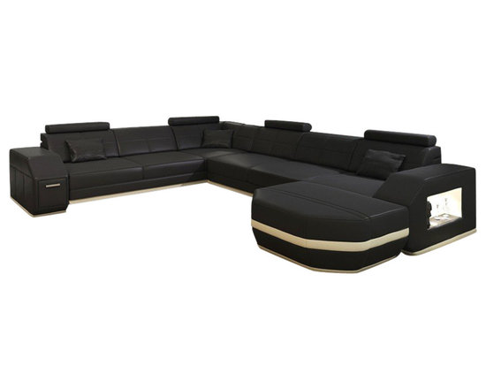 Scene Furniture - Flight Sofa Sectional - This elegant leather sectional is hand produced with fine Italian leather and includes several useful features such as side lighting and side storage. The large and very distinct lounger adds a unique touch.