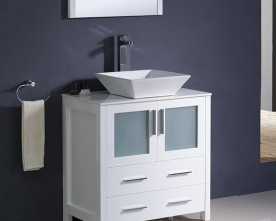 Fresca - Fresca Torino 30 White Modern Bathroom Vanity w/ Vessel Sink - Perfect for both modern and traditional bathrooms, the Torino 30 vanity from Fresca features a White finish and frosted glass panels. Durable and robust in construction, this stylish yet practical vanity incorporates plenty of space for keeping bathroom essentials neatly hidden away from view. This vanity comes complete with the ceramic vessel sink, which adds a chic, contemporary look. Torino Bathroom Vanity Details:   Dimensions:30W x 18 1/8D x 35 5/8H Material: Plywood with Veneer, ceramic vessel sink Finish: White Please note: faucet not included