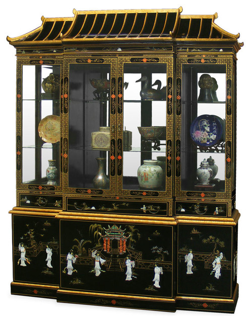 Black Lacquer Pagoda China Cabinet - Asian - Furniture - by China Furniture and Arts