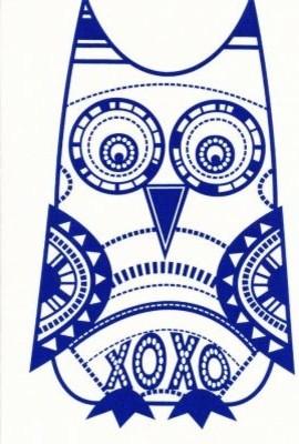 Bela Hoo Owl Navy on Cream Craft Panel modern-fabric