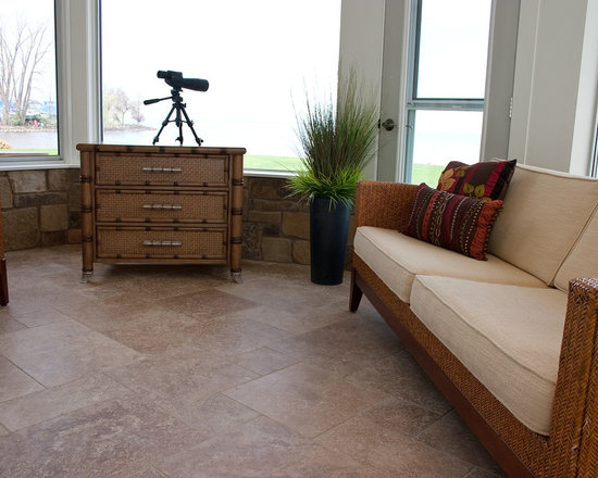 """Considering Carpet? Roll Out the Stone Instead! - Sunroom.  NSVI """"Windsor"""" stone travertine floor.  NSVI """"Camelback"""" on wall."""