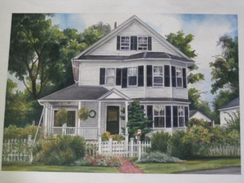 Painting Of Colonial House in Concord Mass farmhouse-artwork