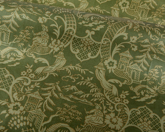 Kanji Fabric in Avocado Green - Kanji Fabric in Avocado Green. A 100% cotton patterned fabric in light green hues and gold accents. Great for drapery, pillows and bedding. Kanji has an Asian flair and is a designer's dream offering a unique, high quality fabric that is well priced.