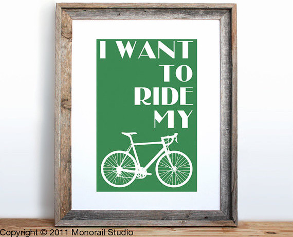 I Want to Ride My Bicycle Small Screenprint by Monorail Studio contemporary kids decor