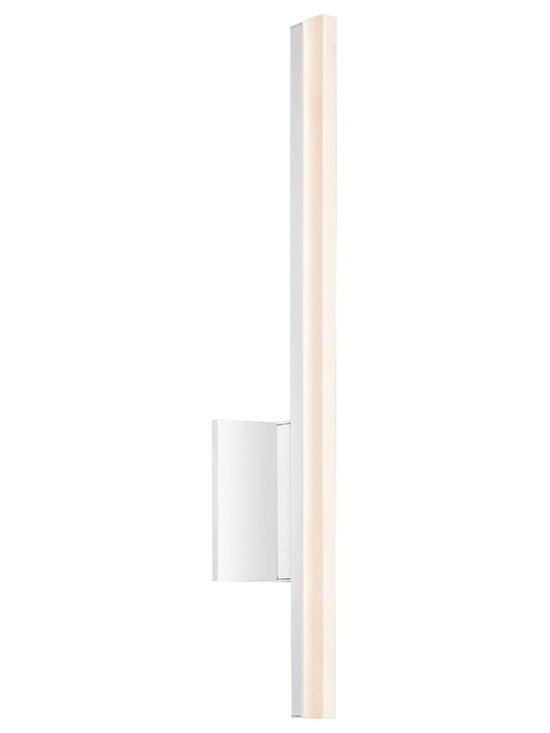 """Sonneman - Sonneman Stiletto 23 3/4"""" High Satin White LED Wall Sconce - Stiletto single light wall sconce. By Sonneman. Satin white finish. Frosted acrylic shade. Includes one 10 watt LED. Light output is 840 lumens. Comparable to a 60 watt incandescent bulb. 3000K color temperature. CRI is 80. ADA compliant. 23 3/4"""" high. 5"""" wide. Extends 3 1/4"""" from the wall. Backplate is 5"""" square.  Stiletto single light wall sconce.  By Sonneman.  Satin white finish.  Frosted acrylic shade.  Includes one 10 watt LED.  Light output is 840 lumens.  Comparable to a 60 watt incandescent bulb.  3000K color temperature.  CRI is 80.  ADA compliant.  23 3/4"""" high.  5"""" wide.  Extends 3 1/4"""" from the wall.  Backplate is 5"""" square."""