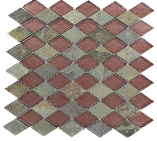 Geological Diamond Multicolor Slate & Rust Glass Tiles eclectic-tile