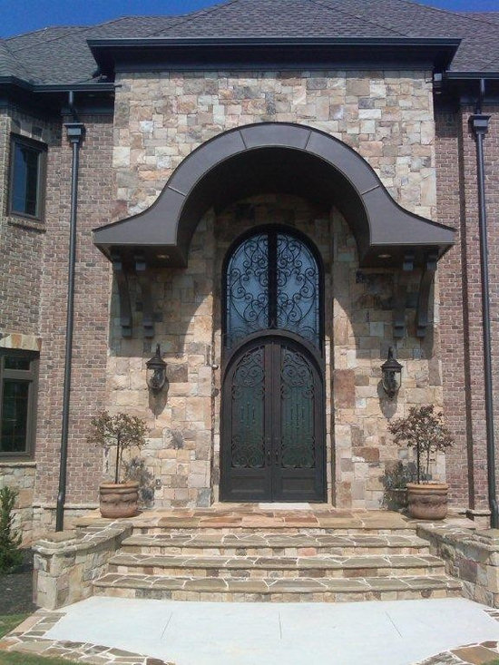 "Wrought Iron Doors-Curb Appeal - A Signature Entry ""Stonehenge Contemp"" ... Iron on Stone"