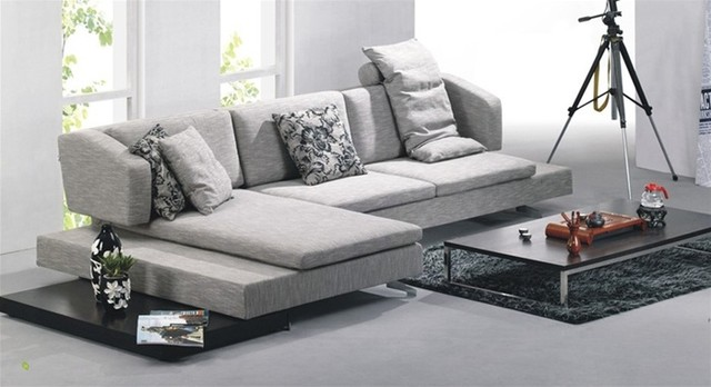 Contemporary Gray Microfiber Sectional Set contemporary sectional sofas