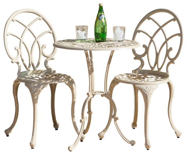 Andover Sand Aluminum 3pc Bistro Set contemporary-outdoor-dining-tables