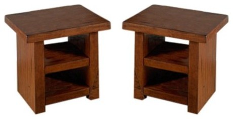 Jofran Plank End Table with Shelf-Set of 2 contemporary-side-tables-and-end-tables